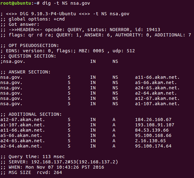 This is the output of running dig on NSA.gov