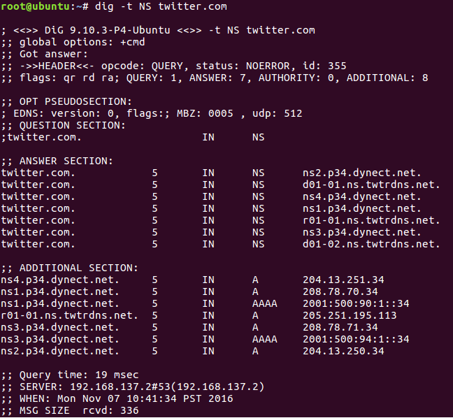 This is the output of running dig on Twitter.com